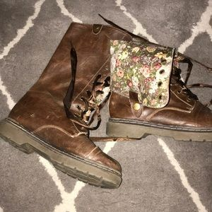 Faux leather floral army boots